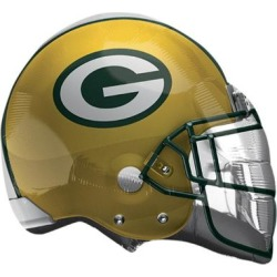 "Green Bay Packers Helmet XL Balloon 21"" Shaped Mylar Birthday NFL Football Party"