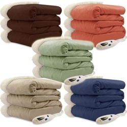 Biddeford Luxuriously Soft Micro Mink and Sherpa Heated Throw Blanket