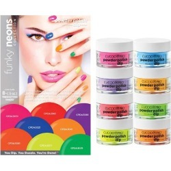 Cuccio Powder Polish Nail Colour Dip System Funky Neons Collection Kit