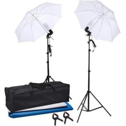 Portable Portrait Studio Photography Umbrella Continuous Lighting Kit w/ backdrops 2x 45W Bulbs 2x Clamps