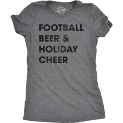 Womens Football Beer And Holiday Cheer Tshirt Funny Thanksgiving Tee