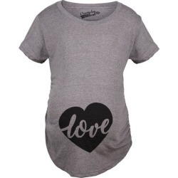 Maternity Love Script Heart Valentines Day Pregnancy Announcement T shirt