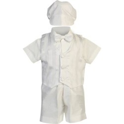 Lito Baby Boys White Shantung Striped Organza Vest Shorts Baptism Set 0-24M