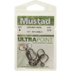 Mustad 94140b2/0uv6 ring live bait hook sz 2/0
