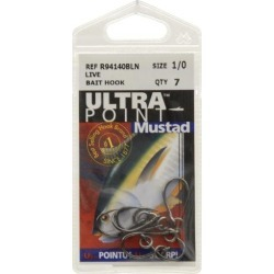 Mustad 94140b1/0uv7 ring live bait hook sz 1/0