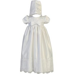 Baby Girls White Satin Embroidered Lace Bow Christening Gown 6-12M