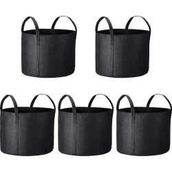 5 Pack Grow Bags Fabric Pots Root Pouch with Handle Planting Container...