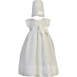 Lito Baby Girls White Embroidered Organza Sequin Christening Gown 0-18M