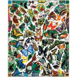 White Mountain Puzzles Butterflies of the World - 1000 Piece Jigsaw Puzzle