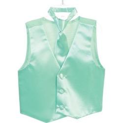 Tip Top Kids Little Boys Mint Three Button Satin Vest Tie 2 Pc Set 2-6