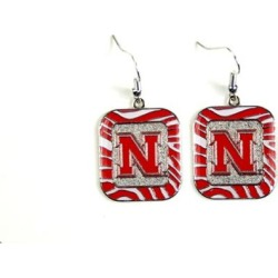 Nebraska Cornhuskers NCAA Zebra Style Dangle Earrings