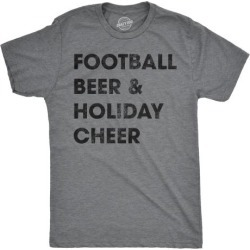 Mens Football Beer And Holiday Cheer Tshirt Funny Thanksgiving Tee