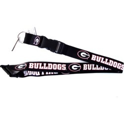 Sports Team Logo NCAA Georgia Bulldogs Clip Lanyard Keychain Id Ticket Holder Black