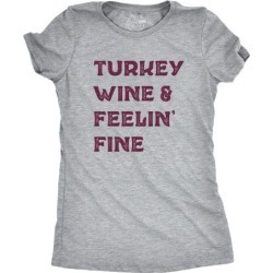 Womens Turkey Wine And Feelin Fine Tshirt Funny Thanksgiving Dinner Drinking Tee
