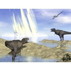 Tyrannosaurus rex and pteranodons watch a meteorite impact in Yucatan, Mexico, that created Chicxulub crater and induced the end of dinosaurs.