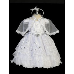 Tip Top Kids Baby Girls White Doves Boutizo Cape Headband Baptism Gown 0-12M