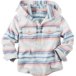 Carter's Little Boys' Hooded Button-Front Popover Shirt, 5 Kids
