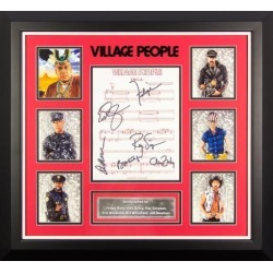 Village People - Signed Music Lyrics in Photo Collage Frame
