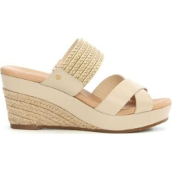 UGG Australia Womens Adriana Leather Open Toe Casual Espadrille Sandals