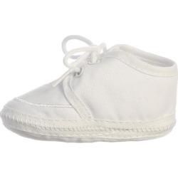 Lito Baby Boy White Cotton Lace Up Christening Bootie Newborn - 3 Baby