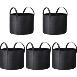 5 Pcs Grow Bags Fabric Pots Root Pouch with Handles Planting Container...