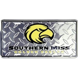"""Southern Miss Golden Eagles NCAA """"Diamond"""" License Plate"""