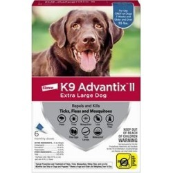 K9 Advantix II Flea, Tick & Mosquito Prevention for Extra Large Dogs, over 55 lbs, 6 treatments