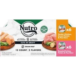 Nutro Grain-Free Tender Chicken Stew & Roasted Turkey Stew Cuts in Gravy Variety Pack Dog Food Trays, 3.5-oz, case of 12