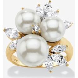 Palmbeach Jewelry Yellow Gold over Sterling Silver Pearl and Cubic Zirconia Ring (Yellow Gold) Size 8 found on MODAPINS from Woman Within for USD $54.99
