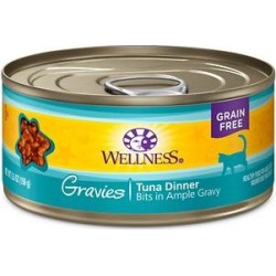 Wellness Natural Grain Free Gravies Tuna Dinner Canned Cat Food, 5.5-oz, case of 12