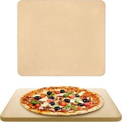 """Pizza Stone for Oven - Large Baking Stone for Gas, Electric, Brick Oven and BBQ Grill - Premium Cordierite 14""""x16.5"""" Rectangular Outdoor Grilling Stone - Bread Stone with Recipe E-Book"""