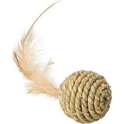 Ethical Pet Seagrass Ball & Feathers Cat Toy, Tan found on Bargain Bro India from Chewy.com for $2.99