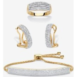 Plus Size Women's 18K Gold-Plated Diamond Accent Demi Hoop Earrings, Ring And Adjustable Bolo Bracelet Set 9