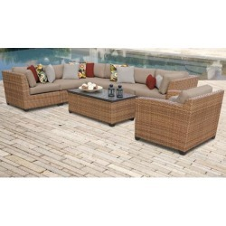 Laguna 8 Piece Outdoor Wicker Patio Furniture Set 08d in Wheat - TK Classics Laguna-08D found on Bargain Bro India from totally furniture for $1564.99