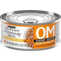 Purina Pro Plan Veterinary Diets OM Savory Selects With Chicken Wet Cat Food, 5.5-oz can, case of 24