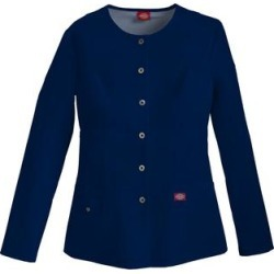 Dickies Women's Xtreme Stretch Snap Front Warm-Up Scrub Jacket - Navy Blue Size 5Xl (82310) found on Bargain Bro Philippines from Dickies.com for $34.99