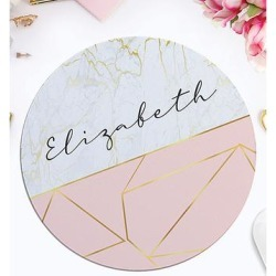 Personalized Planet Mouse Pads - Pink & Gold Marble Geometric Personalized Round Mouse Pad found on Bargain Bro Philippines from zulily.com for $11.99