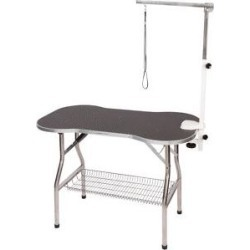 Flying Pig Grooming Bone Shaped Dog & Cat Grooming Table with Arm, Medium, Black