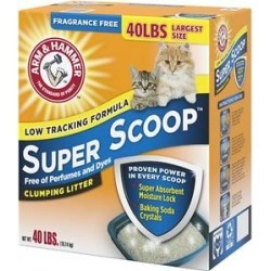 Arm & Hammer Litter Super Scoop Fragrance-Free Clumping Litter, 40-lb box found on Bargain Bro Philippines from Chewy.com for $19.99