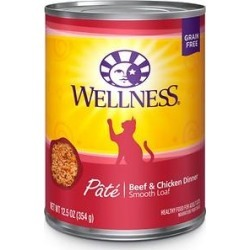 Wellness Complete Health Adult Beef & Chicken Formula Grain-Free Canned Cat Food, 12.5-oz, case of 12