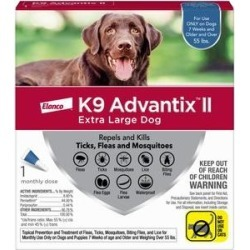 K9 Advantix II Flea, Tick & Mosquito Prevention for Extra Large Dogs Over 55-lbs, 1 treatment