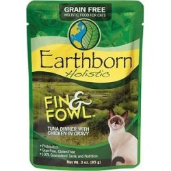Earthborn Holistic Fin & Fowl Tuna Dinner with Chicken in Gravy Grain-Free Cat Food Pouches, 3-oz pouch, case of 24 found on Bargain Bro India from Chewy.com for $23.76