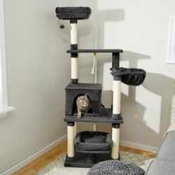 Frisco 66-in Cat Tree with Bed, Condo, Lounge Basket and Top Perch, Dark Charcoal found on Bargain Bro from Chewy.com for USD $58.51