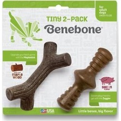 Benebone Bacon Flavor Tiny 2-Pack Dog Toy, 2 count