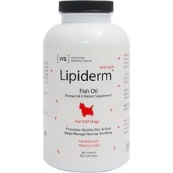 International Veterinary Sciences Lipiderm Fish Oil Omega 3 & 6 Dog Supplement, Small/Medium, 500 count