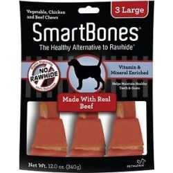 SmartBones Large Beef Chew Bones Dog Treats, 3 count found on Bargain Bro India from Chewy.com for $4.15