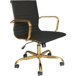 Harris Ribbed Design Leatherette Office Chair w/ Gold Frame - LeisureMod HOG19BLL found on Bargain Bro India from totally furniture for $203.97