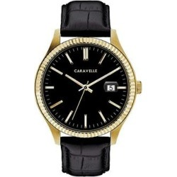 Caravelle by Bulova Men's Leather Watch - 44B118, Size: Large, Black found on Bargain Bro India from Kohl's for $125.00