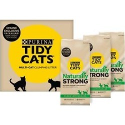 Tidy Cats Naturally Strong Clean Lemongrass Scented Clumping Clay Cat Litter, 13.3-lb bag, 3 count found on Bargain Bro from Chewy.com for USD $19.75