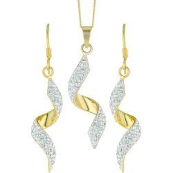 Evoke Gold-Plated Crystal Twist Drop Earrings & Pendant found on Bargain Bro UK from H Samuel